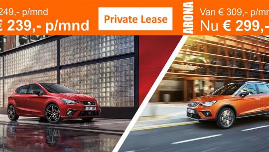 SEAT Ibiza vanaf € 239,- en de Arona vanaf € 299,- p/mnd in Private Lease