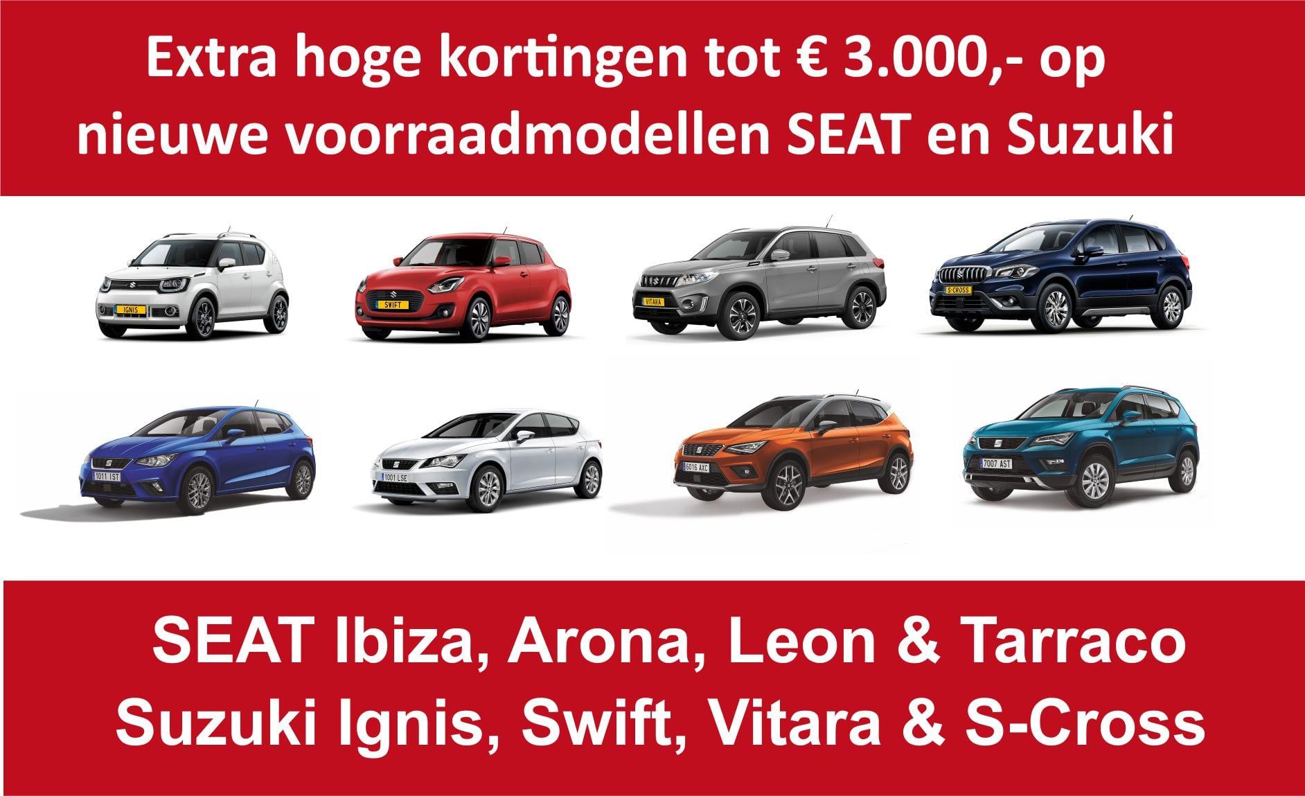 Extra hoge kortingen tot € 3.000,- op nieuwe voorraadmodellen SEAT en Suzuki