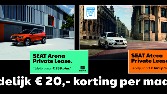Voorraadactie SEAT Arona en Ateca: € 20,- korting pmd Private Lease