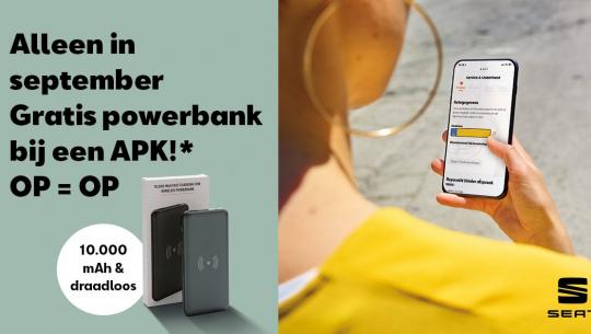 Gratis draadloze powerbank t.w.v. € 29,50 bij een SEAT APK! Op=Op